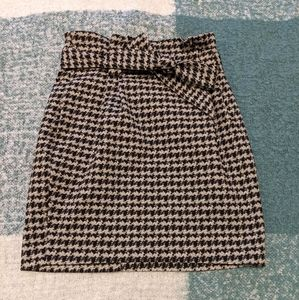 Express Houndstooth Print Pencil Skirt with Bow